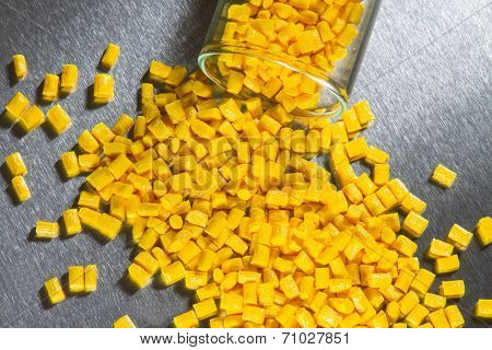 yellow plastic resin on steel sheet