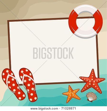 Summer Frame With Beach Symbols.
