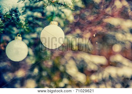 Two Hanging White Christmas Baubles - Retro, Faded
