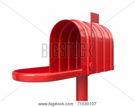 Opened Empty Red Mailbox Isolated