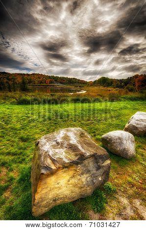 Autumn Landscape Under Dark Clouds