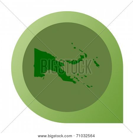 Isolated Papa New Guinea map marker pin flat web design style.
