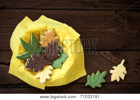 Autumn Cookies In A Yellow Bowl