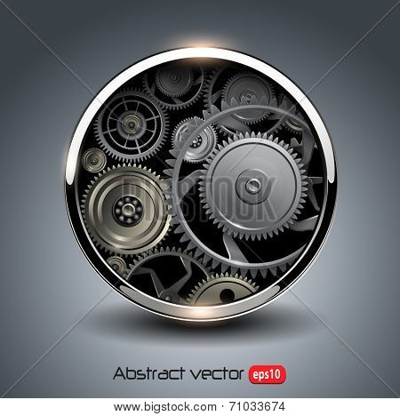 Abstract background metallic chrome 3D button with gears, vector.
