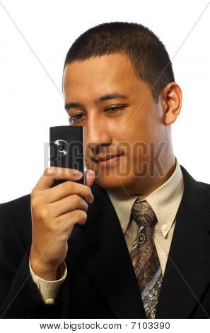 Businessman Take Photo With Cellphone
