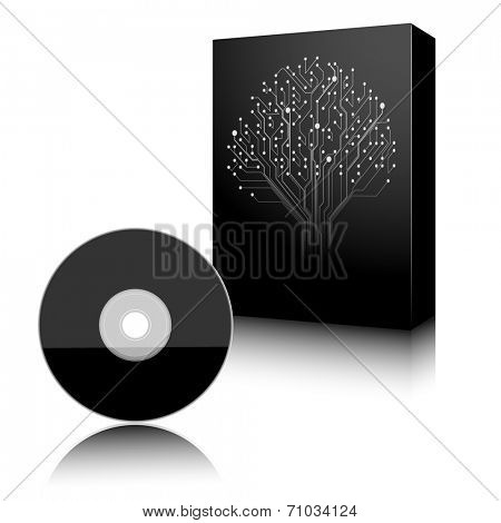 Software. Black Box and Disc on white background. Vector. Illustration.