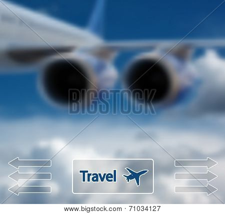 Big airliner in the blue sky with clouds. Vector Illustration.