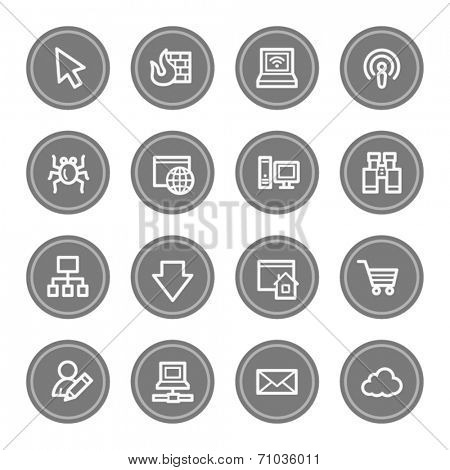 Internet web icons, grey circle buttons