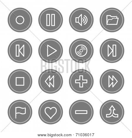 Media player web icons, grey circle buttons