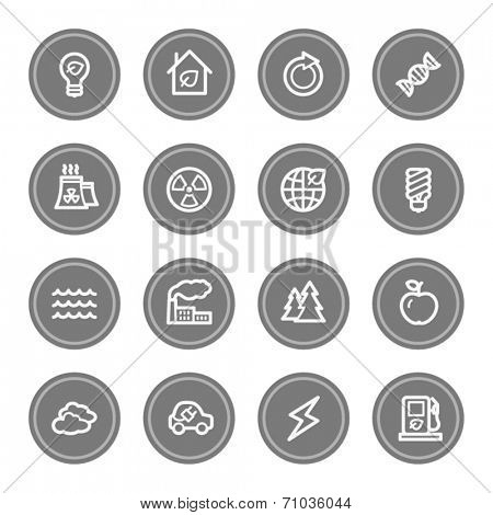 Green ecology web icon set 1, grey circle buttons