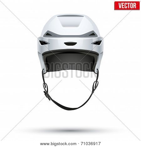 Classic white Hockey Helmet isolated on Background. Vector.