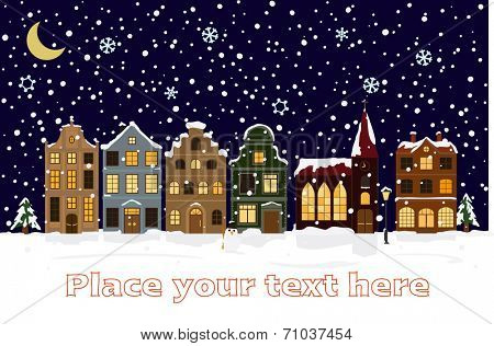 Winter Cityscape Vector Illustration with space for text. Illuminated and snow-covered townhouses and church on main street under sickle moon at night