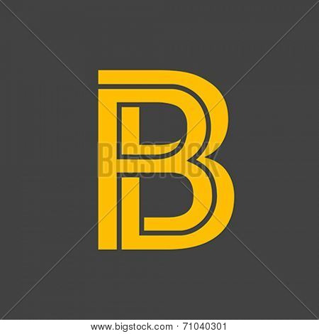 Letter B vector alphabet impossible shape. ABC concept type as logo. Typography design