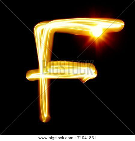 Created by light alphabet over black background