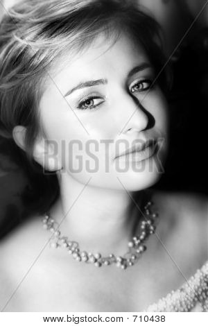 Young Bride With Large Eyes - Black-And-White