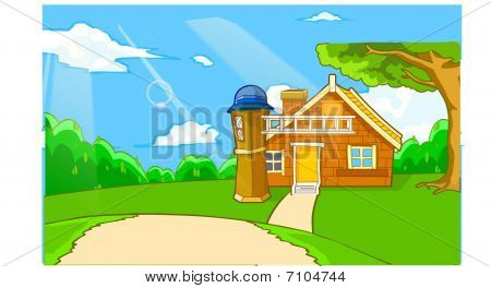 Vector landscape on nice day