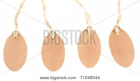 Brown tags isolated on white
