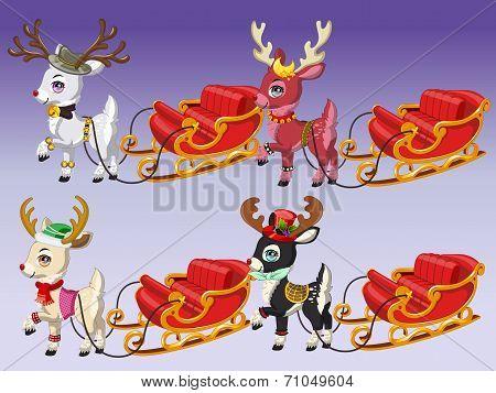 Cute Reindeer with Sledge 2