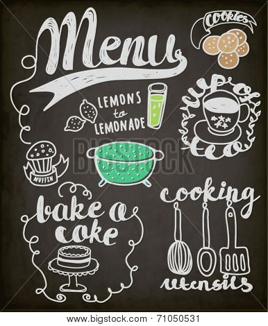Blackboard Doodles Themed Around Food and Drink - Hand drawn vignettes related to food and drink, including teacup, cookies, cake, muffin and lemonade, in a sketchy simple style