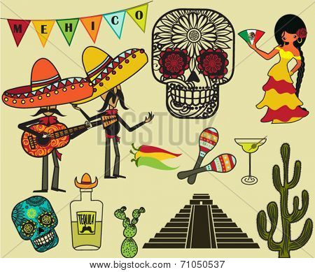 Mexico Clip Art and Symbols - Cartoon style illustration of Mexican symbols, including Mariachi band, tequila, Mexican senorita, calaveras and maracas