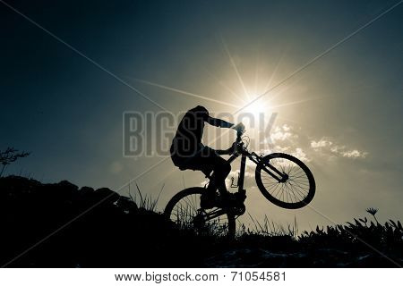 bicyclist in the mountains