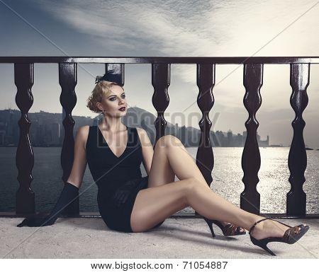 Elegant Retro Style Fashion Woman