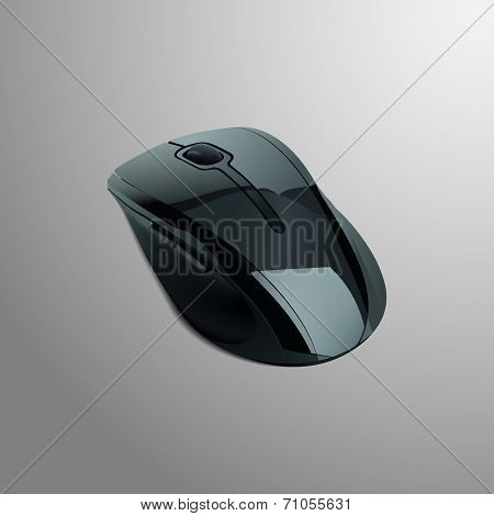 Realistic illustration of a black computer mouse
