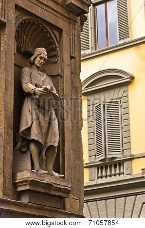 Exterior artistic details on a building of gallery Uffizi, Florence, Tuscany