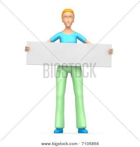 Housewife Holds Up A Poster
