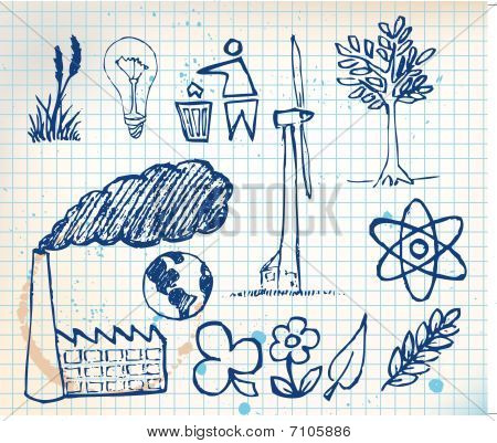 Set Of Ecology Hand-drawn Icons