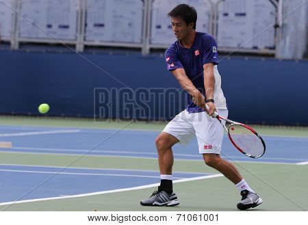 Professional tennis player Kei Nishikori practices for US Open 2014 at Billie Jean King National Te