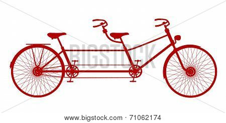 Retro tandem bicycle in red design