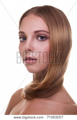 Woman With Healthy Strong Hair On White Background