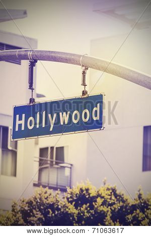 Vintage Picture Of Hollywood Street Sign In Hollywood, Usa.