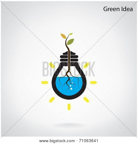 Tree Of Green Idea Shoot Grow In A Light Bulb.