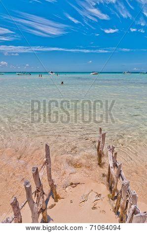 tropical sea and Playa del Norte beach in Isla Mujeres