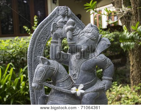 Ganesha On The Horse Statue