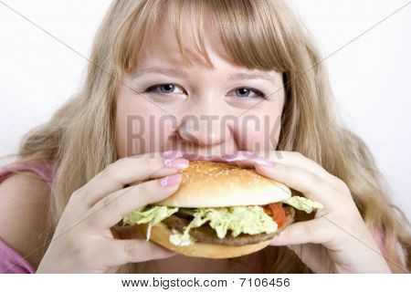 The Young Woman And Hamburger