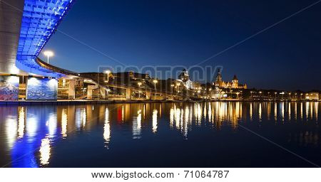 Chrobry Embankment In Szczecin (stettin) City At Night, Poland.