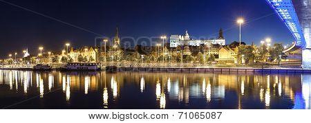 Panoramic View Of Szczecin (stettin) City With Pomeranian Dukes Castle By Night, Poland.
