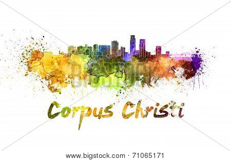 Corpus Christi Skyline In Watercolor