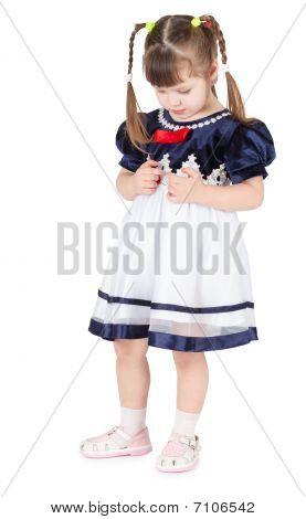 Little Girl In Beautiful Dress Shy