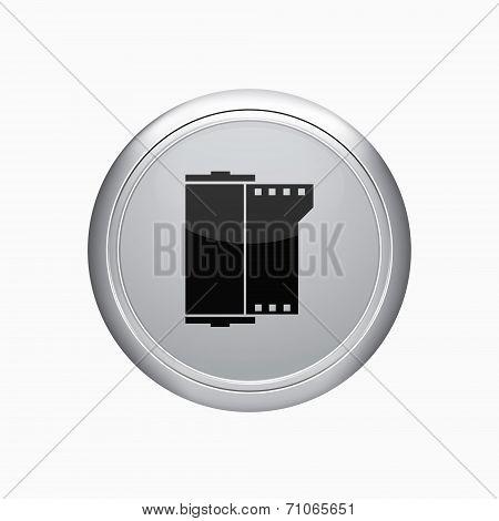 Internet Button. Camera Film Roll Icon. Vector Illustration
