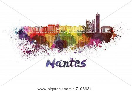 Nantes Skyline In Watercolor