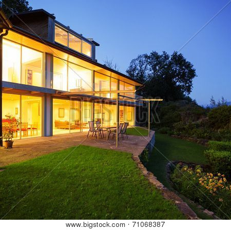 Modern villa in the night, veranda