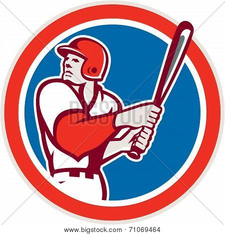 American Baseball Player Batter Hitter Circle Retro