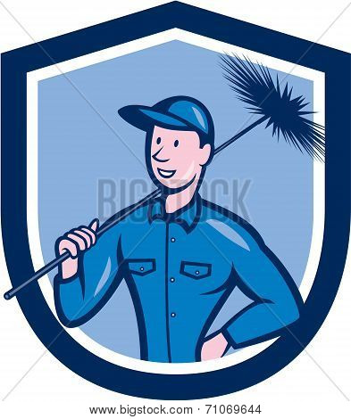 Chimney Sweep Worker Shield Cartoon