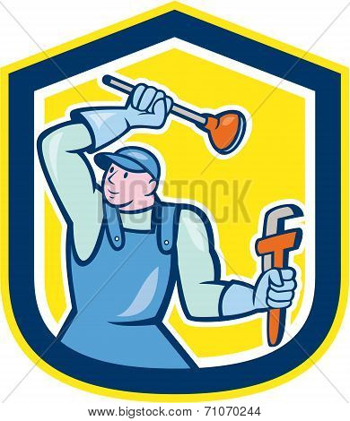 Plumber Wielding Plunger Wrench Shield Cartoon