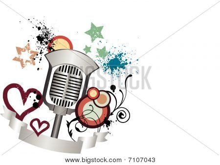 Grunge, old, vintage microphone illustration