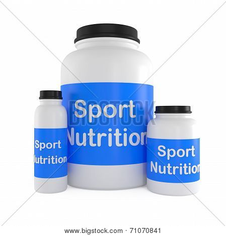 Sport Nutrition Supplement Containers Isolated On White